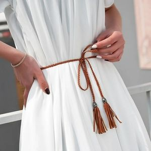 3/$25 Boho Tan Braided Leather Belt